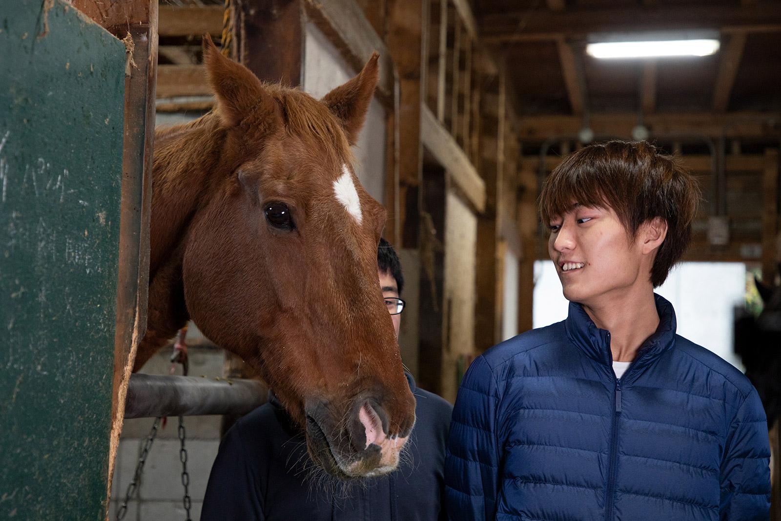 弘前大学馬術部 インタビュー中にも馬がくっついてくる