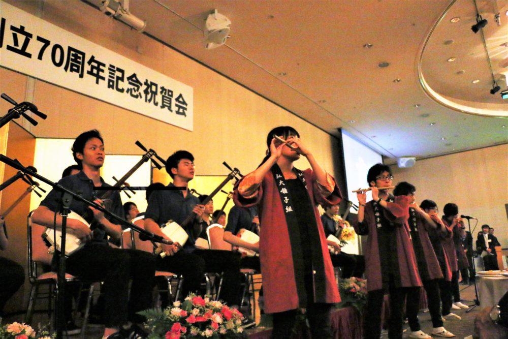 祝賀会での三味線・お囃子のコラボ